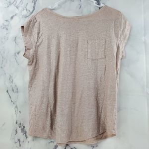 Loft Linen Crew Neck Short Sleeve Blouse